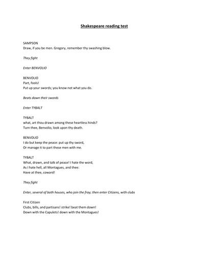 Shakespeare Reading Test