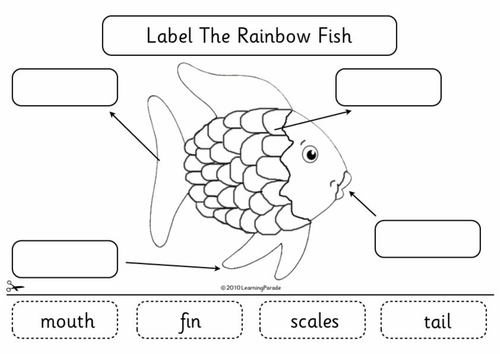 Label The Rainbow Fish By Learningparade Teaching Resources Tes