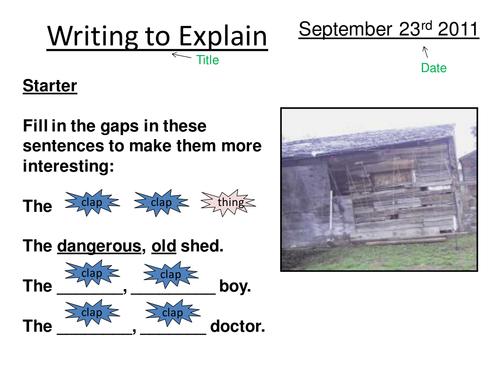 Writing to explain/Skellig lesson