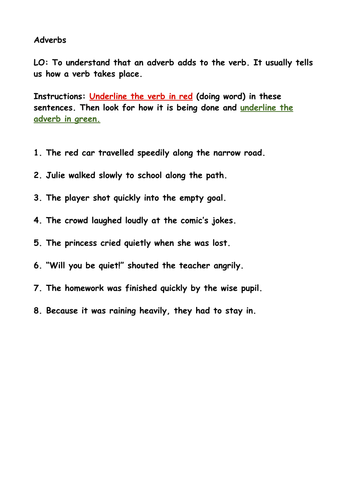 Identify verbs and adverbs in a sentence. by fortune.nicky ...