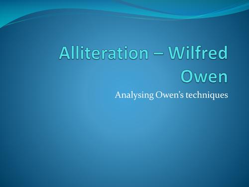 Alliteration and Wilfred Owen