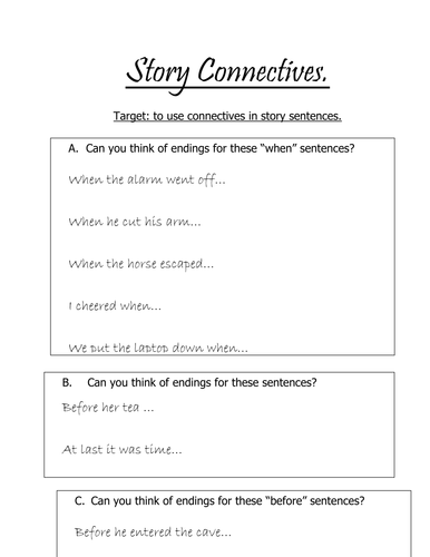 Connectives in story sentences.