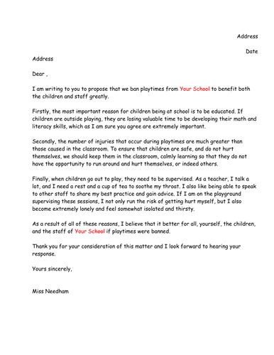 Draft letter of persuasion to ban playtimes