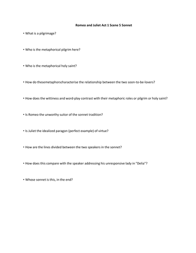 Romeo and Juliet Act 1 Scene 5 Sonnet Questions