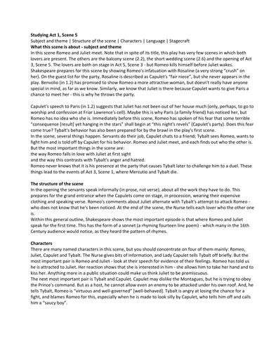 Romeo and Juliet Act 1 Scene 5 Analysis