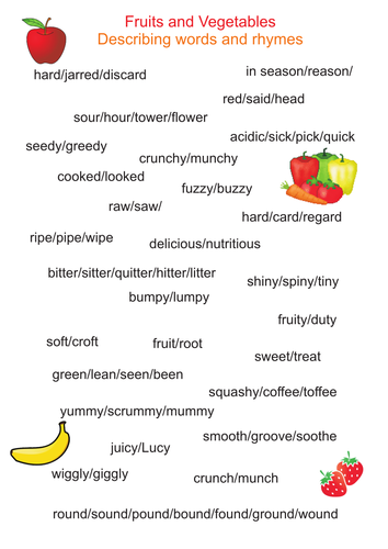 Fruits and Vegetables Adjectives and rhymes