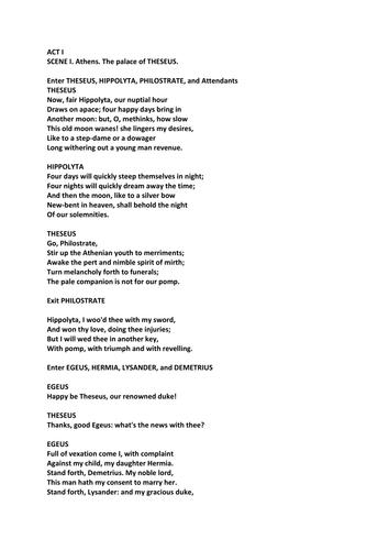 A Midsummer Night's Dream Act I Shakespeare