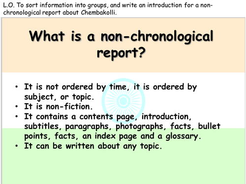 Non-Chronological Report Writing