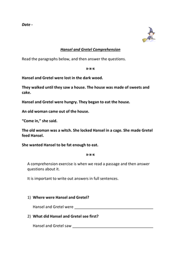 Hansel and Gretel Comprehension