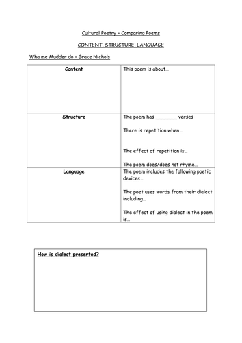 Planning sheet on comparing poems