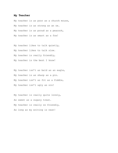 My Teacher Poem
