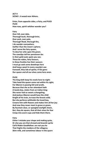 A Midsummer Night's Dream Act II