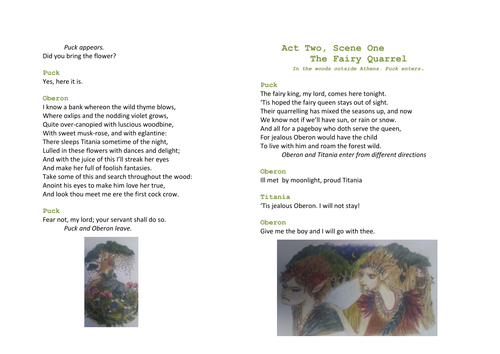 A Midsummer Night's Dream Act Two; Scene One Bookl