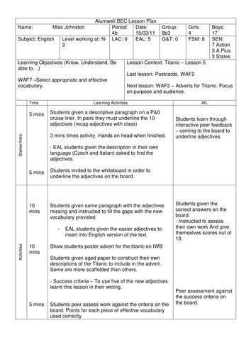 Titanic - Lesson Plan Outline