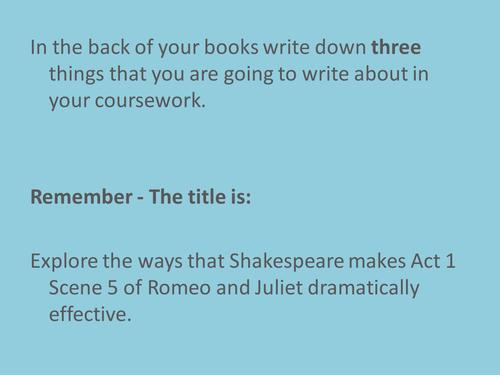 Romeo and Juliet - Essay Planning