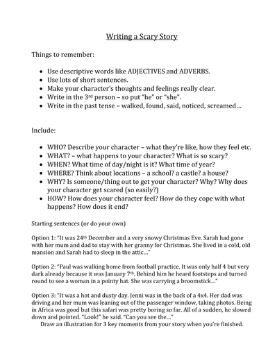 writing a scary story by missclambert teaching resources tes