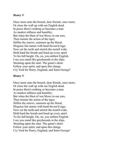 Henry V inspiring rallying calls