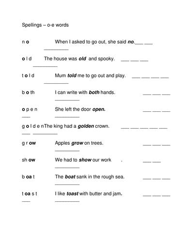 o-e spelling sheet 1