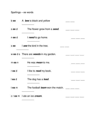 ee words spelling sheet