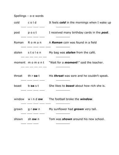o-e spelling sheet 2