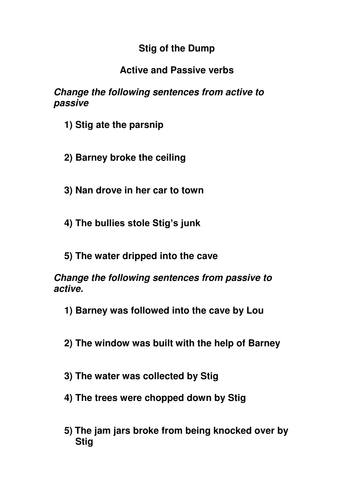 Active & Passive verbs based on 'Stig of the Dump'
