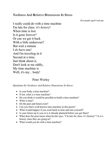 """Poem:""""Tardiness And Relative Dimensions In Stress"""""""