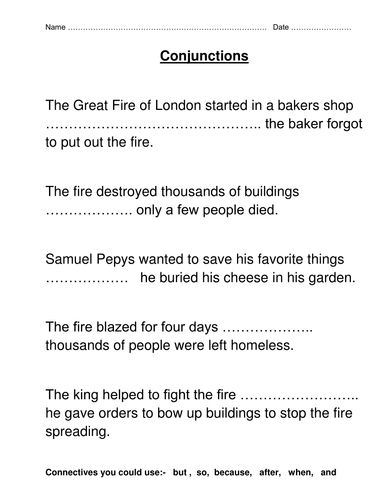 Great Fire of London Literacy Activities