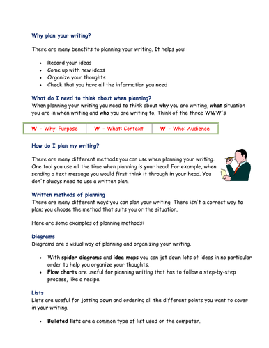 Planning writing