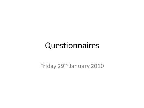 Media Moguls - Questionnaires
