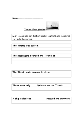 Titanic fact finding template