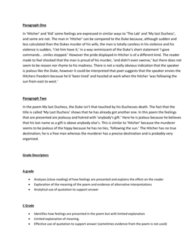 Grades 9 & 10 Literature Poetry Paragraphs