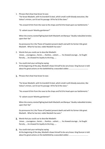 review sheet for Macbeth's Character