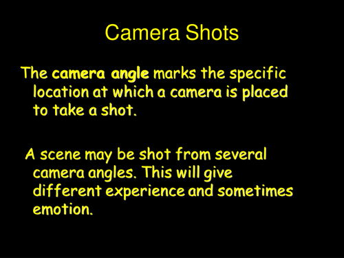 Camera angles for Moving Image