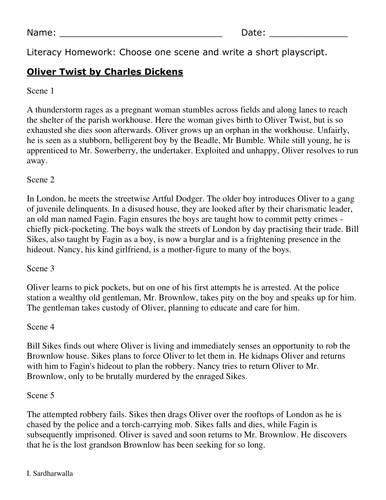 Synopsis for Oliver Twist for Playscripts