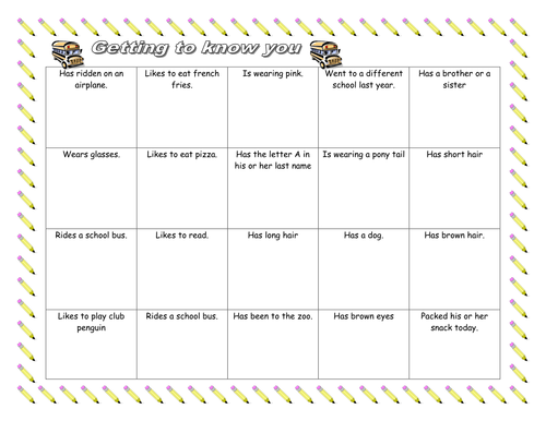 Get to Know You Bingo and Student Contract