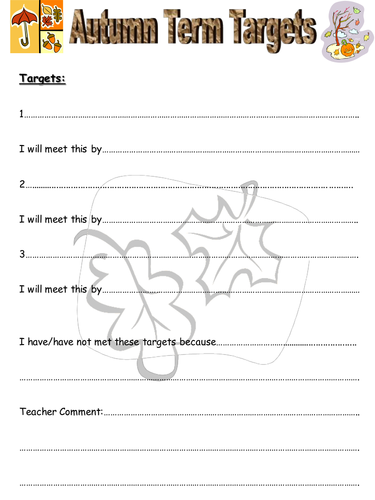 Student Goal Sheets-Autumn/Spring and Summer