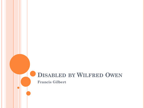 """""""Disabled"""" by Wilfred Owen: explanation/questions"""