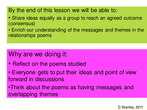 Cooperative discussion task for relationship poems