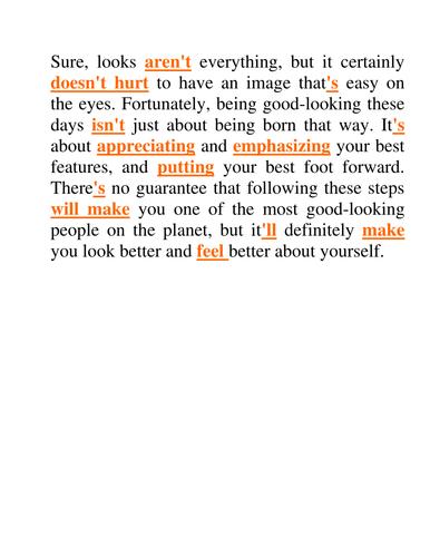 Good Looks - Answer Key