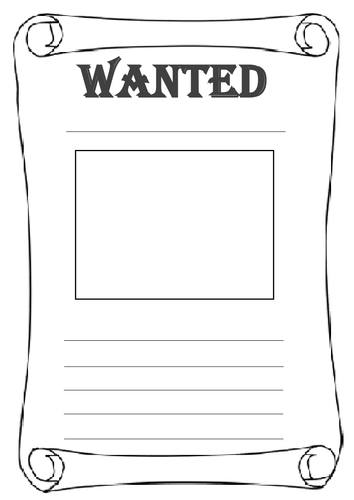 Differentiated 39 wanted 39 poster worksheets by for Wanted pirate poster template