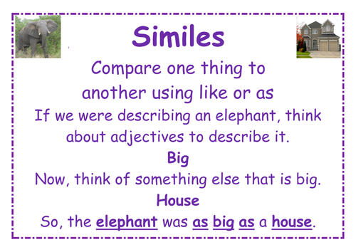 Similes; metaphors and personification posters