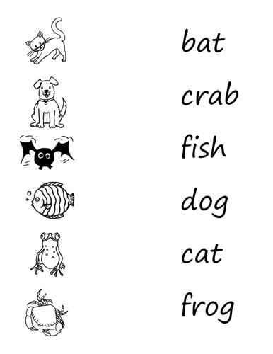 Word reading & writing sheets
