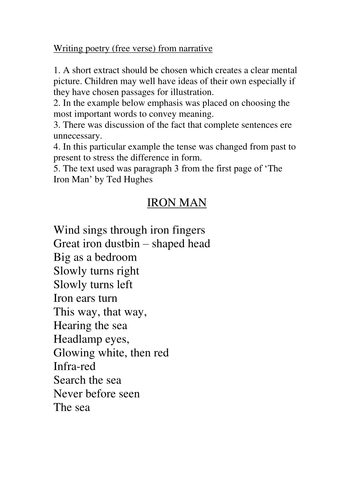 Writing poetry from narrative- The Iron Man