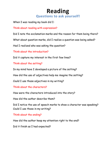 Reading - Journal checklist
