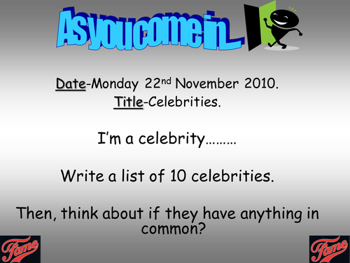 Day in the Life of a Celebrity Diary Entry