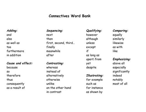 Conjunctions Word Bank