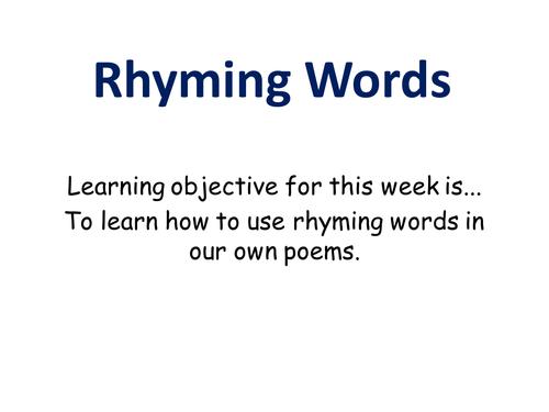 Rhyming; understanding rhyming words