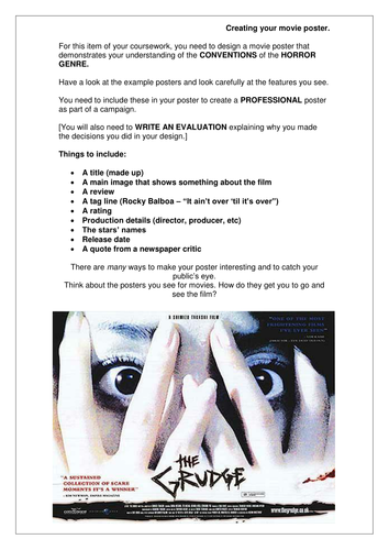 Worksheet for students to create film posters
