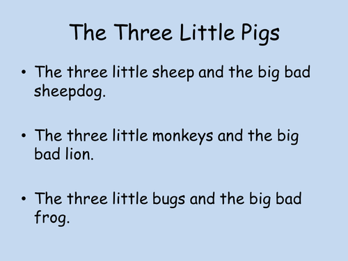 Writing an alternative to the 3 little pigs