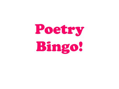 Poetry Bingo starter - PowerPoint